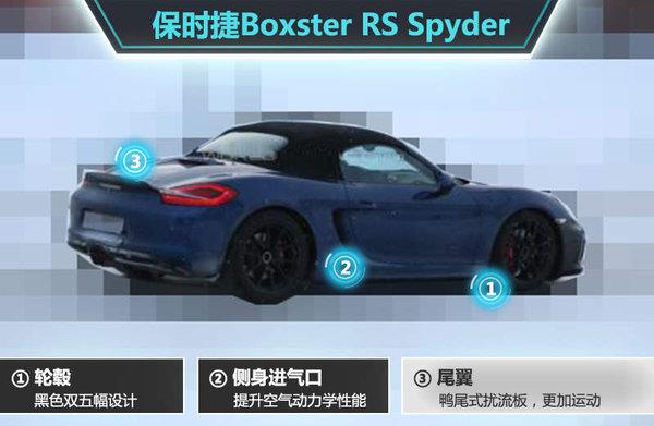 保时捷Boxster RS Spyder采用配备黑色双五幅轮毂,搭配亮红色卡钳,车身整体时尚运动风格进一步提升。车门后侧保留了基于空气动力学设计的进气口,延续了该系列车型的设计元素。新车尾部整体设计布局保持了现款车型风格,配备尺寸更大的鸭尾式扰流板,运动性能将进一步提升。(网通社 2015年1月25日 北京报道)
